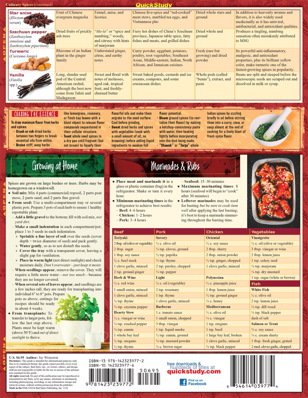 Quick Study QuickStudy Chef's Guide to Herbs & Spices Laminated Reference Guide BarCharts Publishing Culinary Reference Outline Back Image