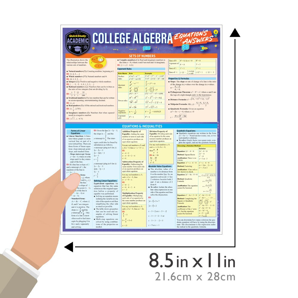 Quick Study QuickStudy College Algebra Equations Answers Laminated Study Guide BarCharts Publishing Guide Size