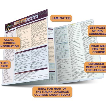 QuickStudy Quick Study Italian Grammar Laminated Study Guide BarCharts Publishing Foreign Languages Guide Benefits