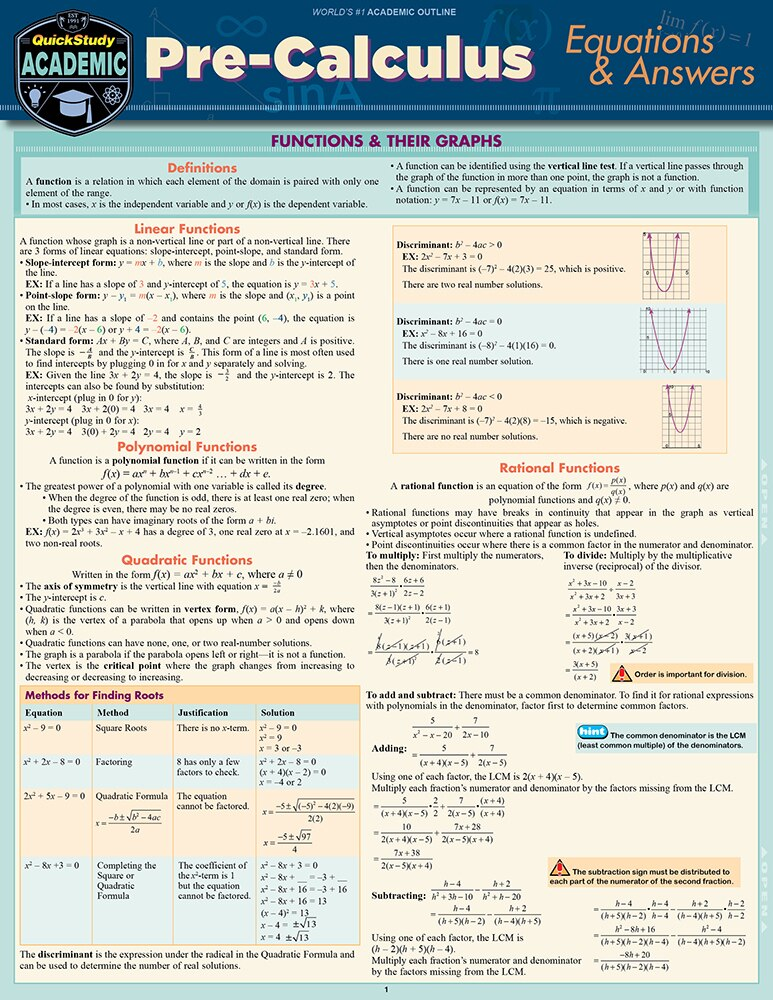 QuickStudy Pre-Calculus Equations & Answers Laminated Study Guide Cover Image