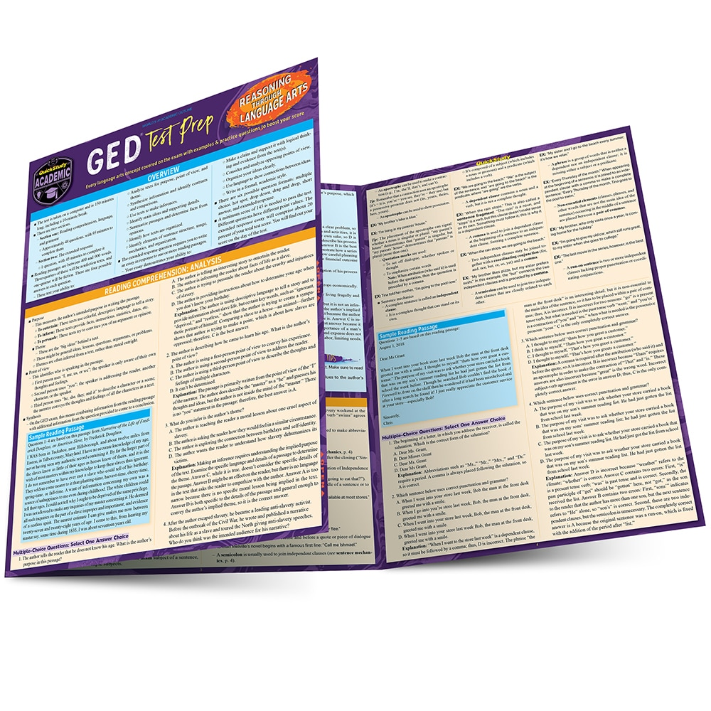 Quick Study QuickStudy GED Test Prep: Reasoning Through Language Arts Laminated Study Guide BarCharts Publishing Education Reference Guide Main Image