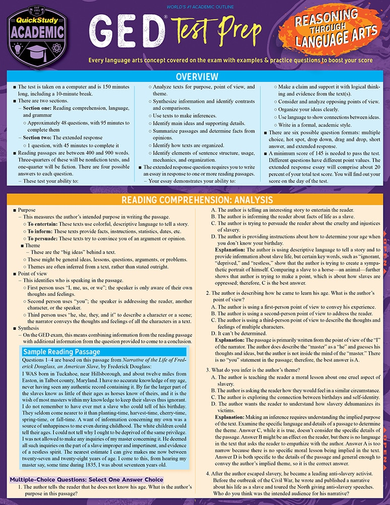 Quick Study QuickStudy GED Test Prep: Reasoning Through Language Arts Laminated Study Guide BarCharts Publishing Education Reference Guide Cover Image