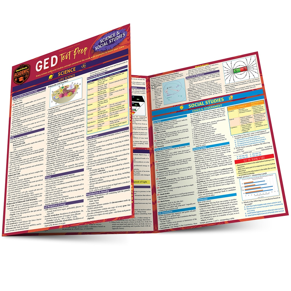 Quick Study QuickStudy GED Test Prep: Science & Social Studies Laminated Study Guide BarCharts Publishing Education Reference Main Image