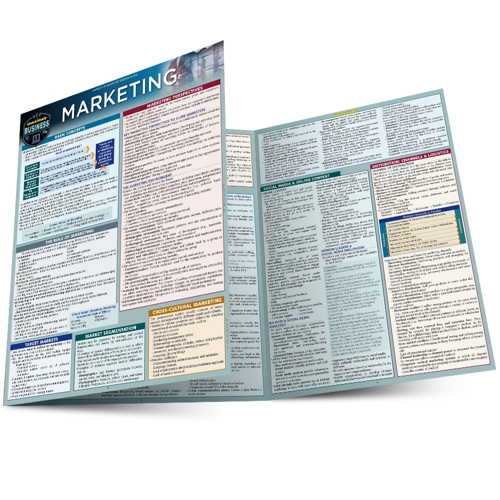 Quick Study QuickStudy Marketing Laminated Reference Guide BarCharts Publishing Business Education Guide Main Image