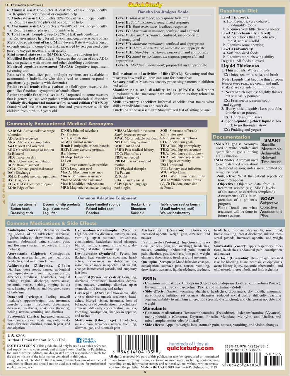 Quick Study QuickStudy Occupational Therapy Laminated Study Guide BarCharts Publishing Alternative Medicine Reference Back Image