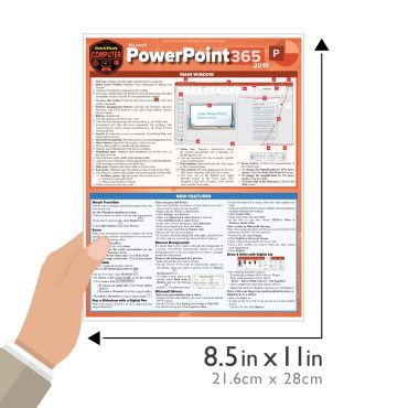 Quick Study QuickStudy Microsoft PowerPoint 365: 2019 Laminated Study Guide BarCharts Publishing Career Reference Guide Size
