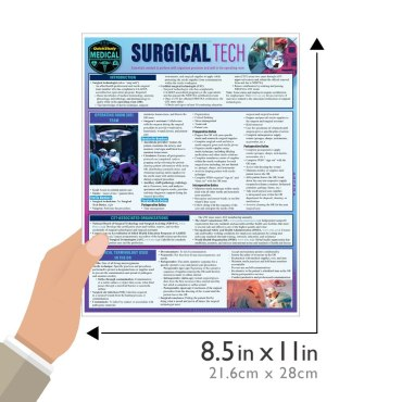Quick Study QuickStudy Surgical Tech Laminated Study Guide BarCharts Publishing Medical Technician Reference Guide Size