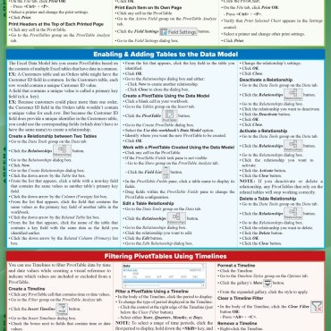 Quick Study QuickStudy Excel 365 Pivot Tables & Charts Laminated Reference Guide BarCharts Publishing Business Software Reference Back Image