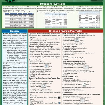 Quick Study QuickStudy Excel 365 Pivot Tables & Charts Laminated Reference Guide BarCharts Publishing Business Software Reference Cover Image