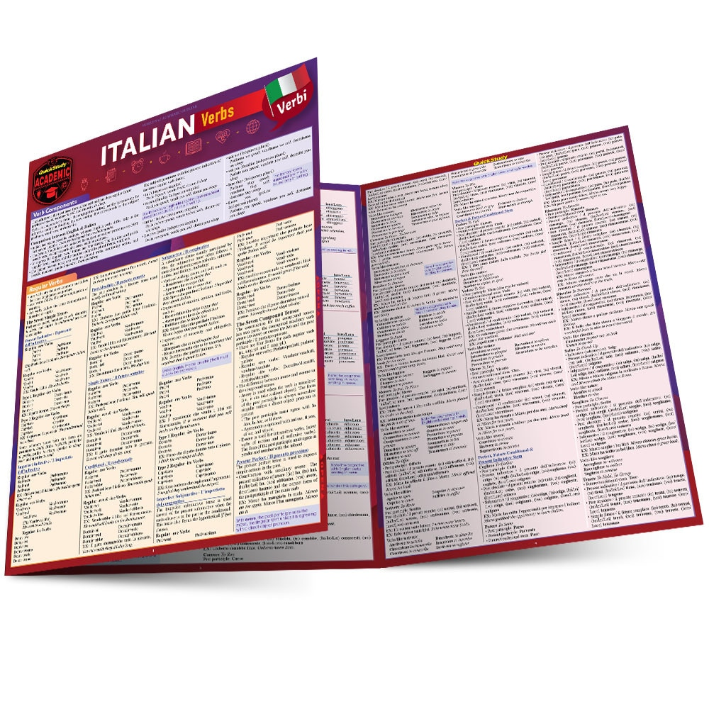 Quick Study QuickStudy Italian Verbs Laminated Study Guide BarCharts Publishing Foreign Language Reference Main Image
