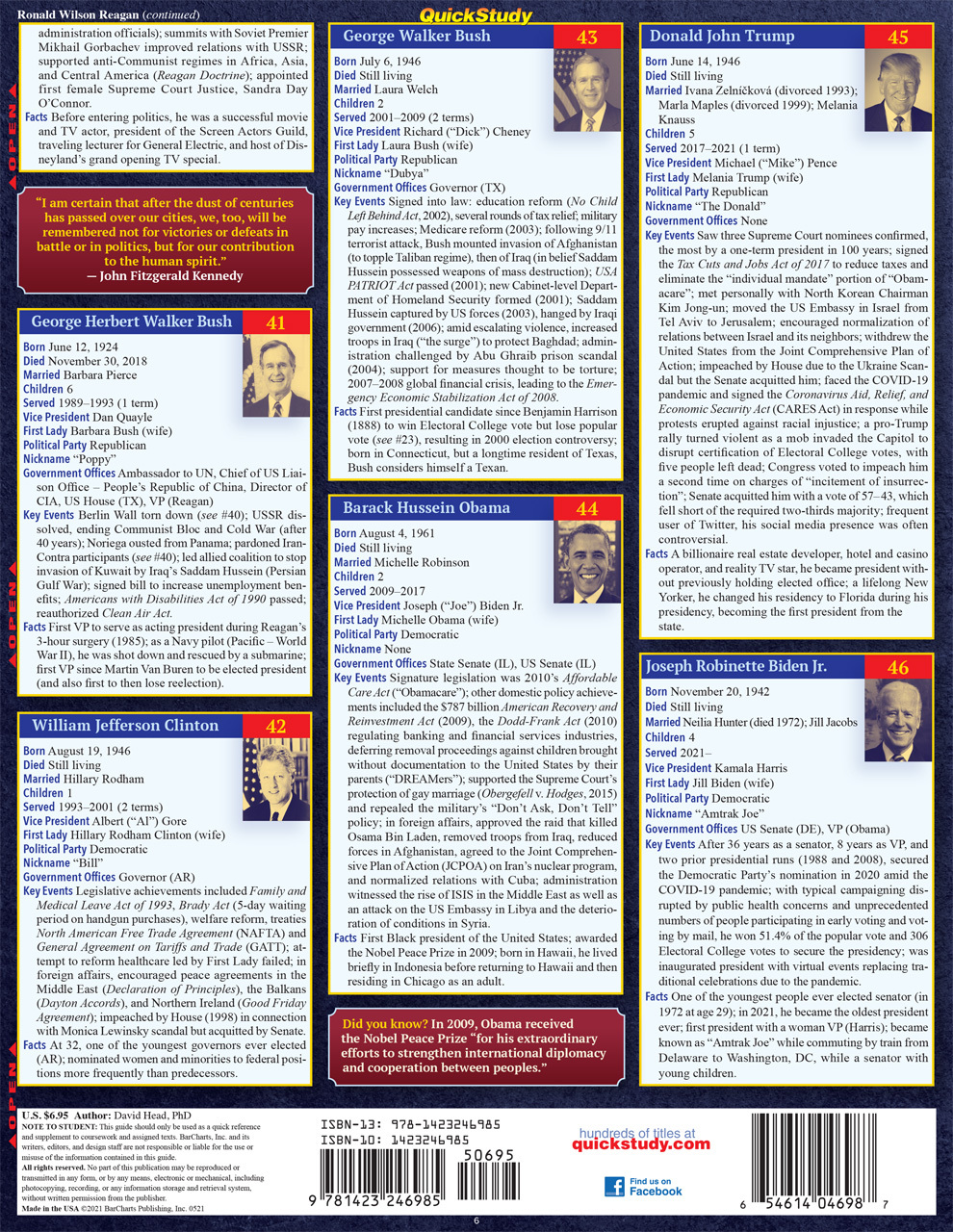 Quick Study QuickStudy U.S. Presidents Laminated Study Guide BarCharts Publishing Political Science Reference Back Image
