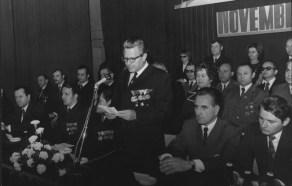 November 7-i megemlékezés a BVK-ban, 1971. Balról jobbra: Körtvélyes István, Básti János, Vékony Ernő, Takács István, Ollári István, Illés Pál