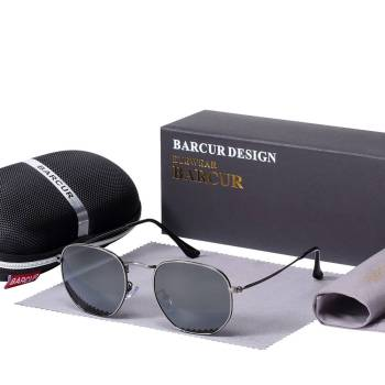 BARCUR New Sunglasses Reflective Women Men Stainless Steel Frame Hexagon BC3549 Sunglasses for Men Round Series Sunglasses Sunglasses for Women