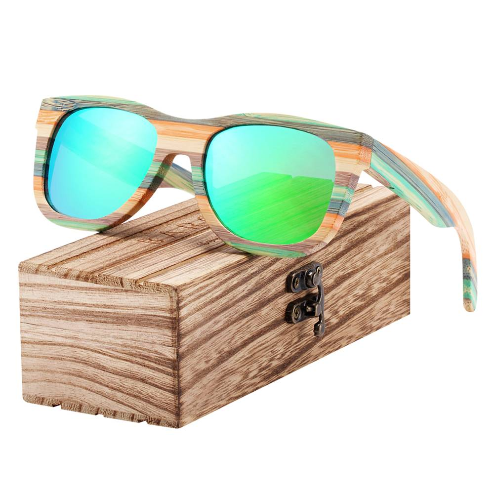 BARCUR Gradient Women Men Bamboo Polarized Sunglasses Mirror Square Eyewear UV400 BC8217 Sunglasses for Men Sunglasses for Women Wooden Sunglasses