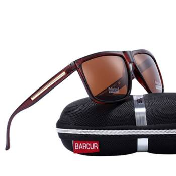 BARCUR Brand Fashion Black Sunglasses Men Polarized Driving Fashion Male BC2063 Sunglasses for Men