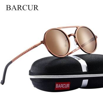 BARCUR Vintage Aluminum Magnesium Sunglasses Round Polarized Steampunk Shades Brand Designer BC8053 Sunglasses for Men Aluminium Sunglasses Sunglasses for Women