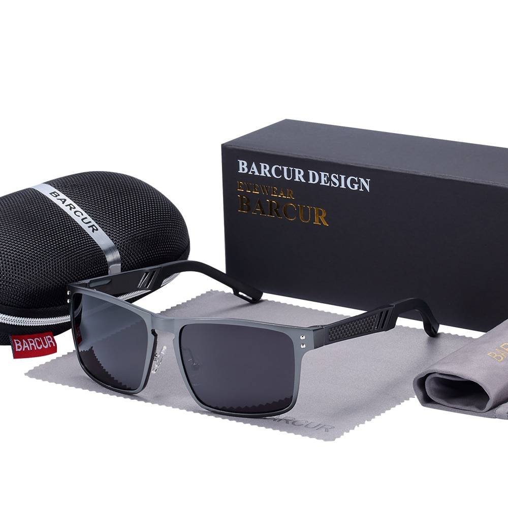 BARCUR New Design Male Driving Eyewear with case set BC8580 Sunglasses for Men Aluminium Sunglasses Sunglasses for Women