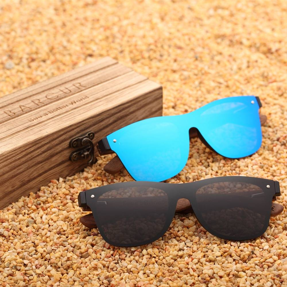 BARCUR Trending Styles Rimless Wooden Sunglasses Men Square Frame Women Sun Glasses BC4126 Sunglasses for Men Sunglasses for Women Wooden Sunglasses