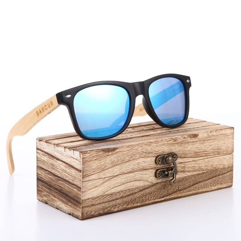 BARCUR Wood Sunglasses Men Polarized Sunglass Female Bamboo Glass Women with Spring Hinge BC4176 Sunglasses for Men Sunglasses for Women Wooden Sunglasses