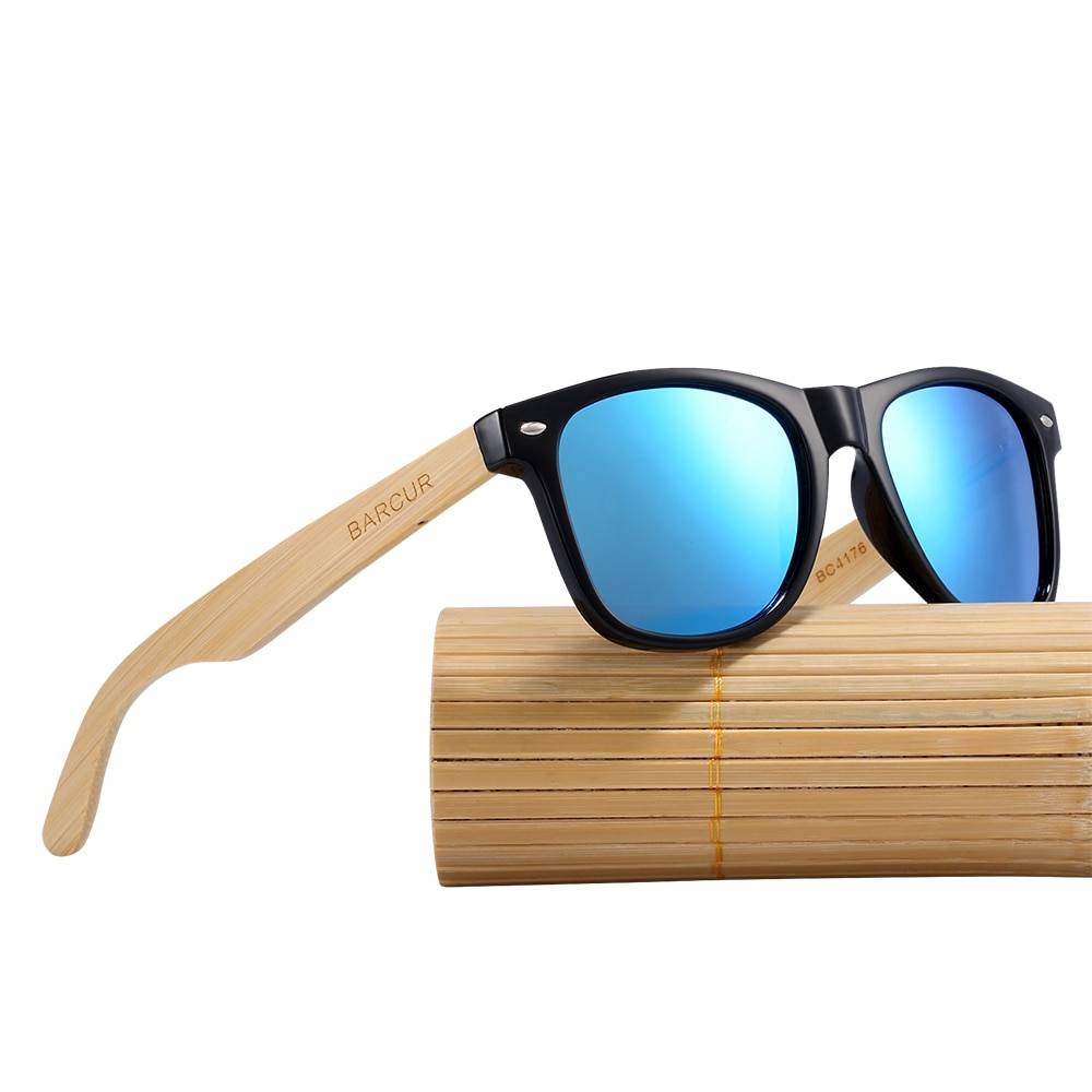 BARCUR Fashion Bamboo Polarized Sunglasses Wooden Sunglasses Unisex BC4176 Sunglasses for Men Sunglasses for Women Wooden Sunglasses