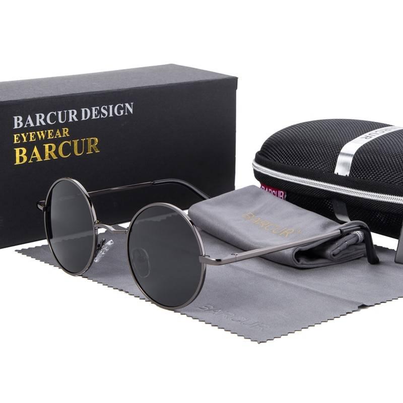BARCUR Retro Round Sunglasses Men Mirror Women Round Sunglasses Polarized Glasses with Box Free BC8088 Sunglasses for Men Round Series Sunglasses