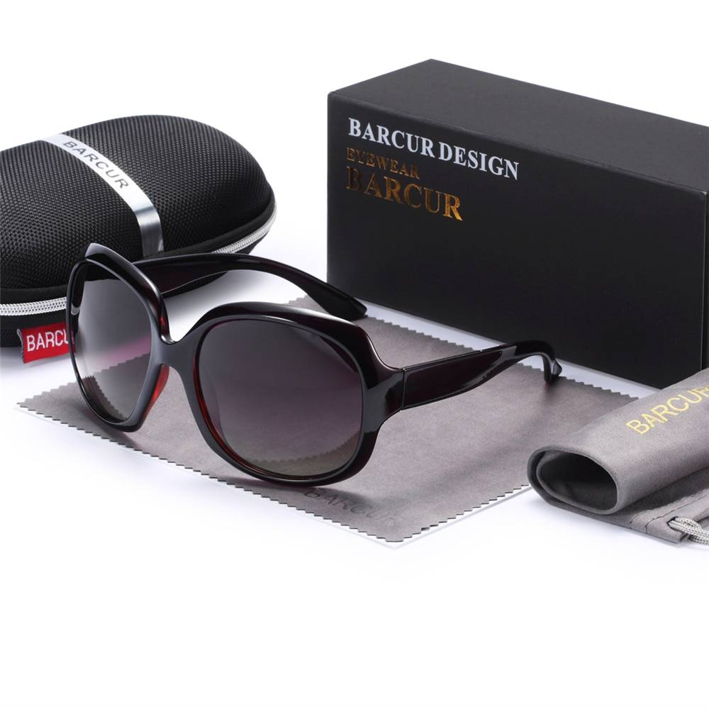 BARCUR +TR90 Material Original Gradient Polarized Sunglasses Women Vintage BC2116 Sunglasses for Women TR90 Material Sunglasses