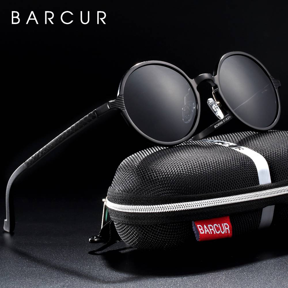 BARCUR Polarized Round Sunglasses Luxury Brand Unisex Glasses Retro Vintage UV400 Retro Style BC8552 Sunglasses for Men Aluminium Sunglasses Round Series Sunglasses Sunglasses for Women
