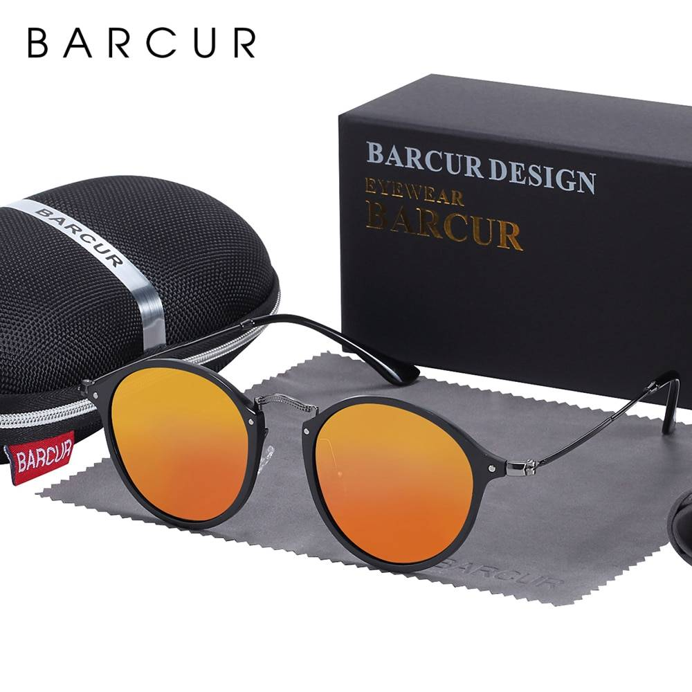 BARCUR Round Sunglasses Steampunk Sunglasses Polarized Women Sunglases Retro BC8575 Round Series Sunglasses Sunglasses for Women