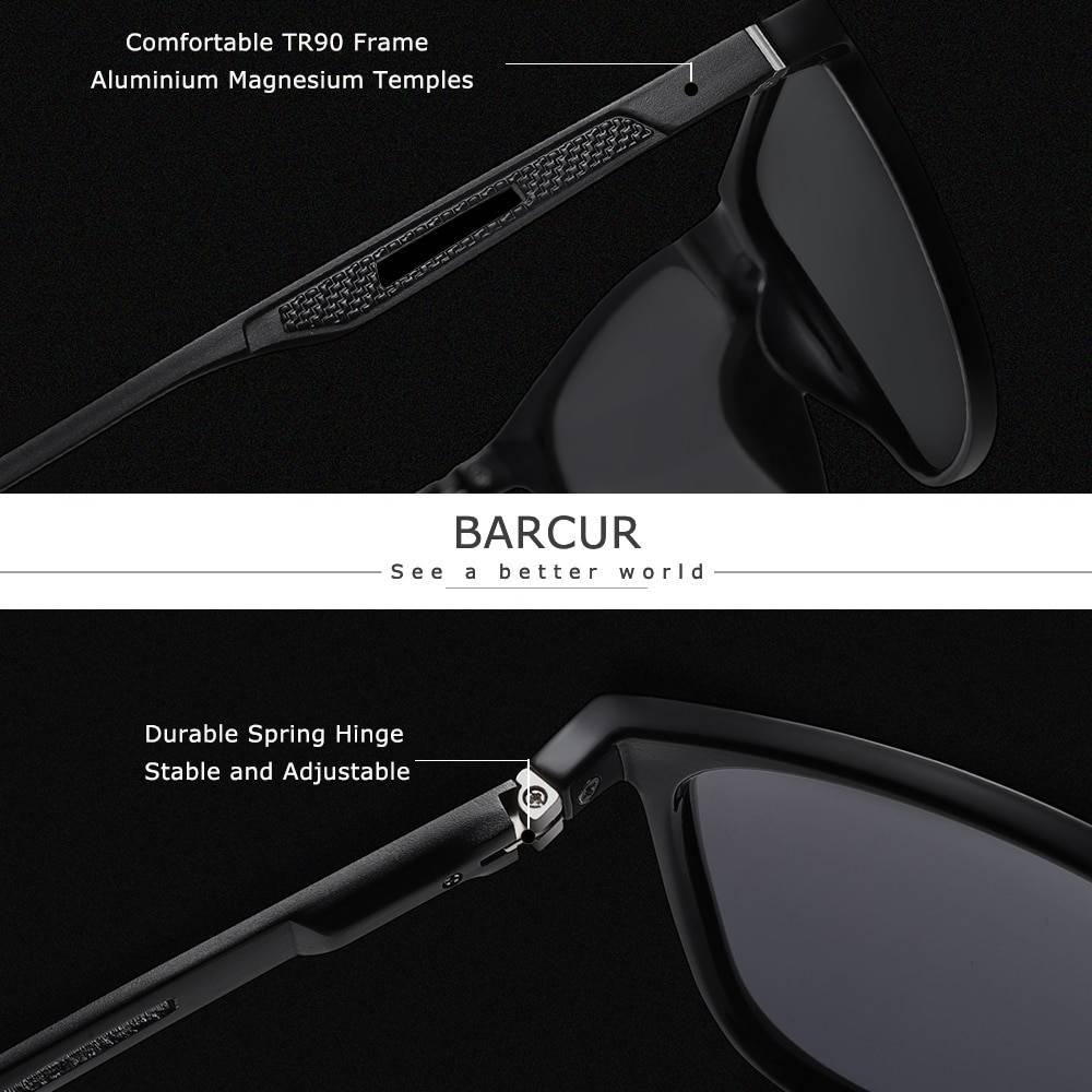 BARCUR Square Men Sports Polarized Sunglasses Women Aluminium Magnenium Temples TR90 Material BC8715 Sunglasses for Men Aluminium Sunglasses Sunglasses for Women TR90 Material Sunglasses
