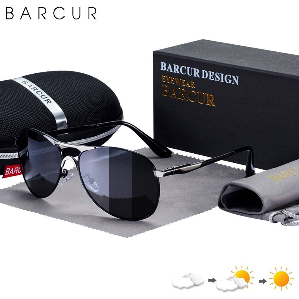BARCUR Photochromic Sunglasses High Quality Men Polarized Sun Glasses UV400 Sunglasses for Men
