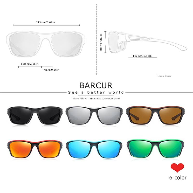 BARCUR Sport TR90 Sunglasses Driving Men Polarized Women Fashion UV400