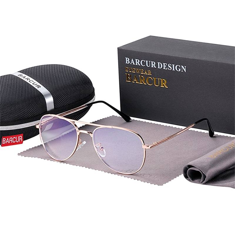 BARCUR Vintage Blue Light Blocking Glass Frame Men Women Optical Reading Computer TV Protection