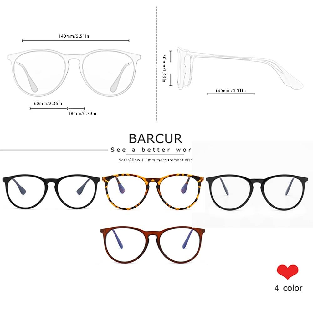 BARCUR Anti Blue Light Computer Glasses Frame Men Women Trend Styles Brand Optical Reading Anti Blue Ray Glasses Round Series Sunglasses