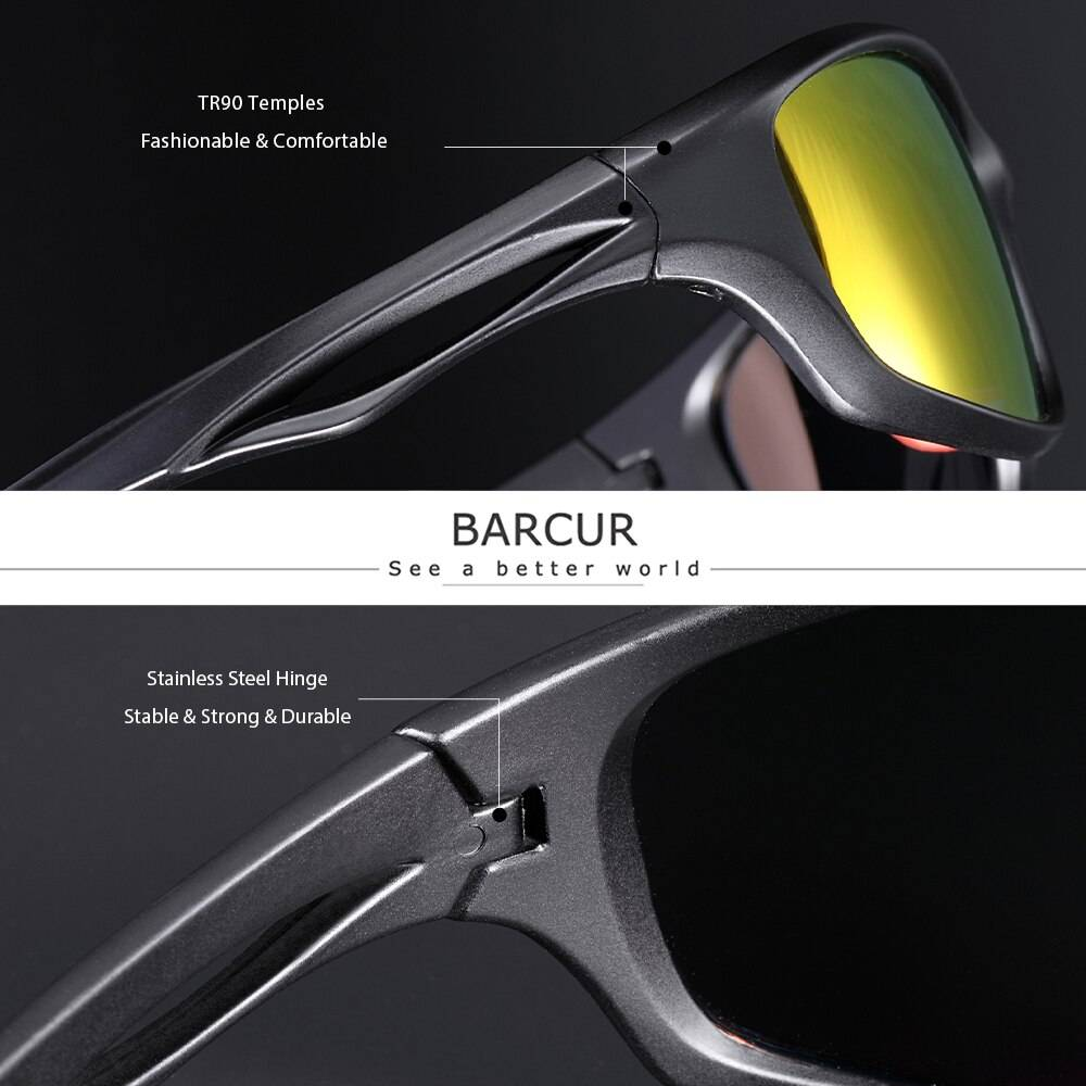 BARCUR BC2050 TR90 Sport Trendy Sunglasses Driving Men 2021 Polarized Sunglasses for Women Fashion Glasses UV400 Sunglasses for Men Sunglasses for Women TR90 Material Sunglasses