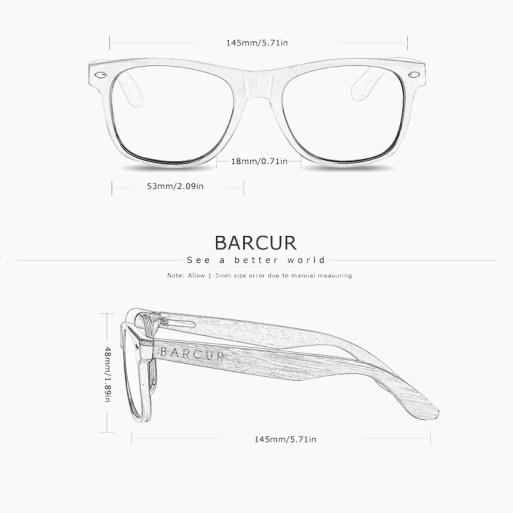BARCUR - Γυαλιά Anti-Blue Ray Zebrawood Bamboo Wayfarer Style Μαύρα (8720)