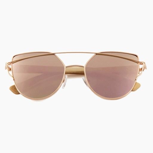 BARCUR - Γυαλιά Ηλίου Bamboo Cat Eye Style με Rose/Gold Polarized Φακό (2041)