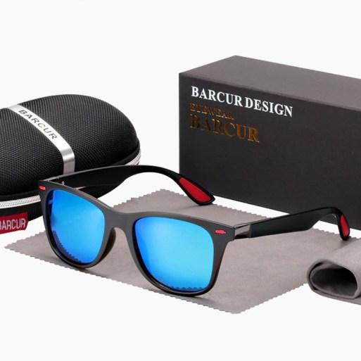 BARCUR - Γυαλιά Ηλίου Active Matte Black / Red Σκελετός & Sky Blue Φακός Polarized (2130)