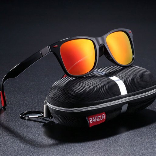 BARCUR - Γυαλιά Ηλίου Active Gloss Black / Red Σκελετός & Orange Φακός Polarized (2130)