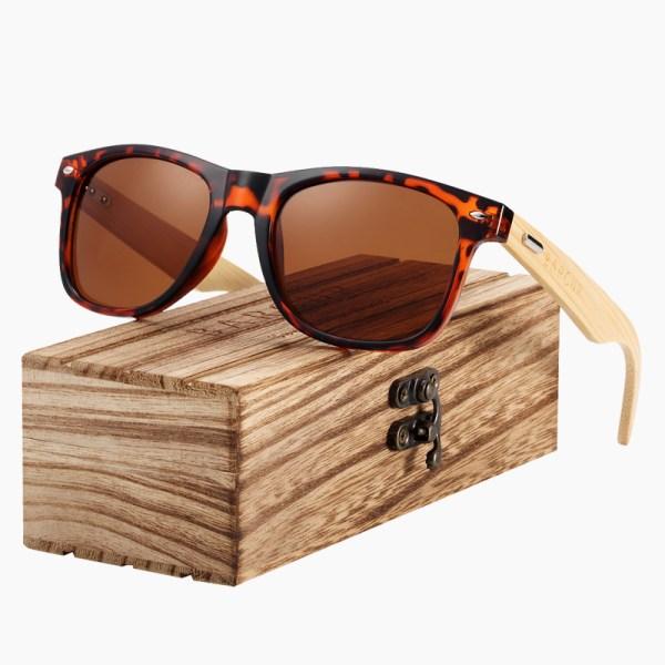 BARCUR - Γυαλιά Ηλίου Bamboo Wayfarer Style Leopard με Tea Polarized Φακό (4175)