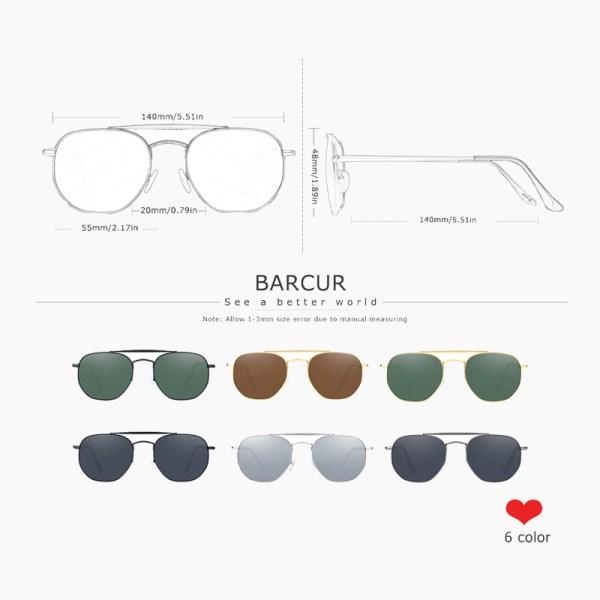 BARCUR - Γυαλιά Ηλίου Retro Hexagon Stainless Gold Σκελετός & Greenkish Φακός Polarized (3550)
