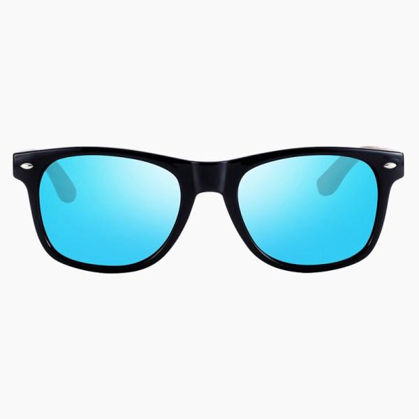 BARCUR - Γυαλιά Ηλίου Walnut Wayfarer Style Μαύρα με Sky Blue Polarized Φακό (8700)