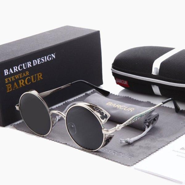 BARCUR - Γυαλιά Ηλίου Round Stainless Silver Σκελετός & Black Φακός Polarized (8371)