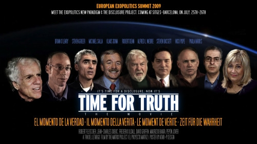 Time for truth. Cartel de documental de la Primera Cumbre Europea de Exopolítica, celebrada en Sitges el 25 y 26 de Julio de 2009.