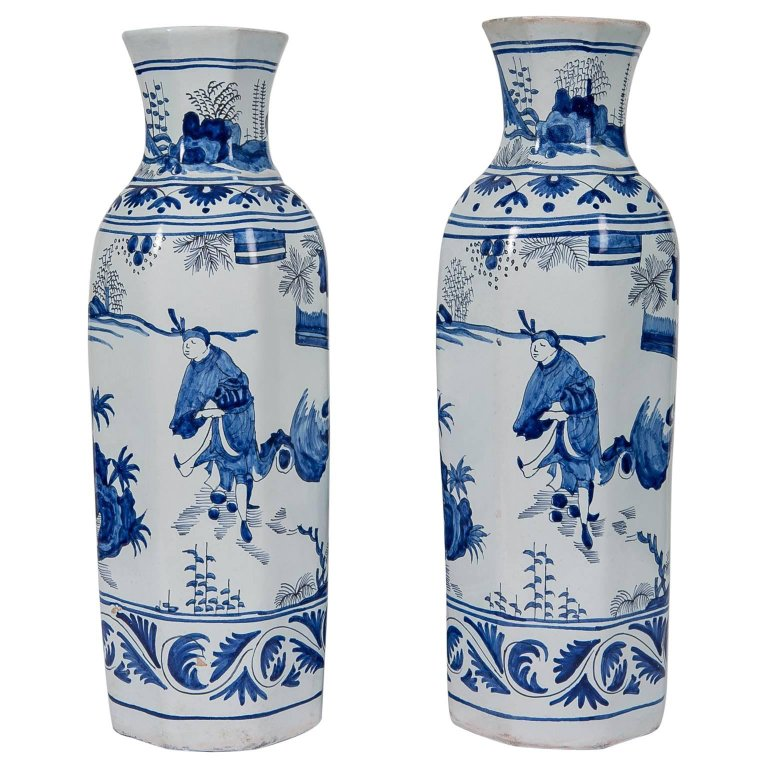 Blue And White Delft Vases Antique Bardith Ltd