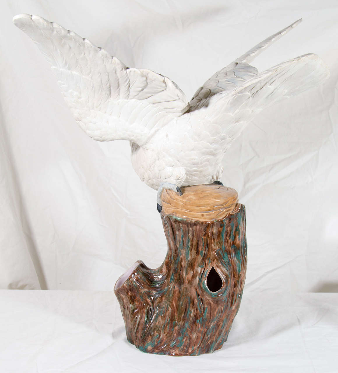 Large Worcester Porcelain Cockatoo Bird Sculpture