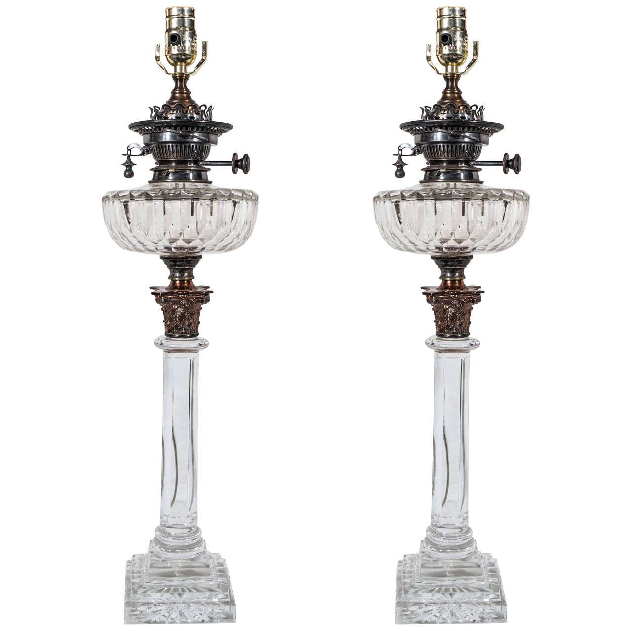 Antique Crystal Table Lamps | Neoclassical Cut Glass Lamps ...