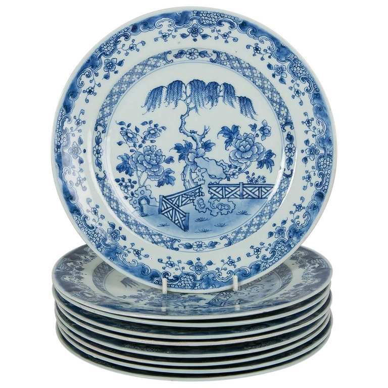 Blue u0026 White Chinese Export Plates-a Set of Ten  sc 1 st  Bardith & Chinese Export Porcelain Plates | blue and white Chinese porcelain ...