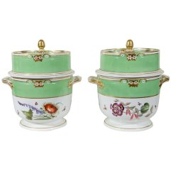 Derby Apple Green Ice Pails, 19th c.