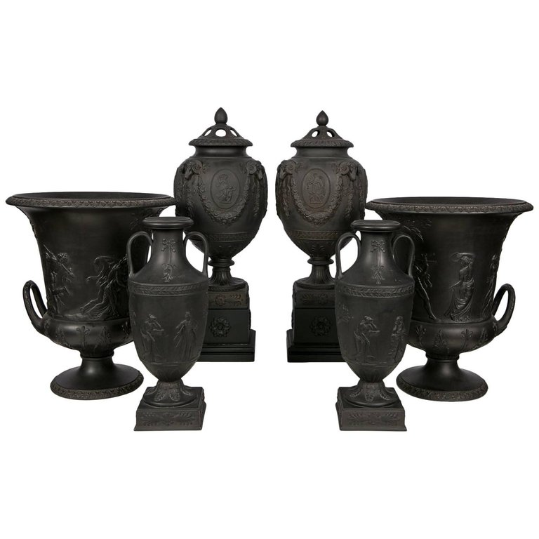 Wedgwood Black Basalt Vases Collection Bardith Ltd