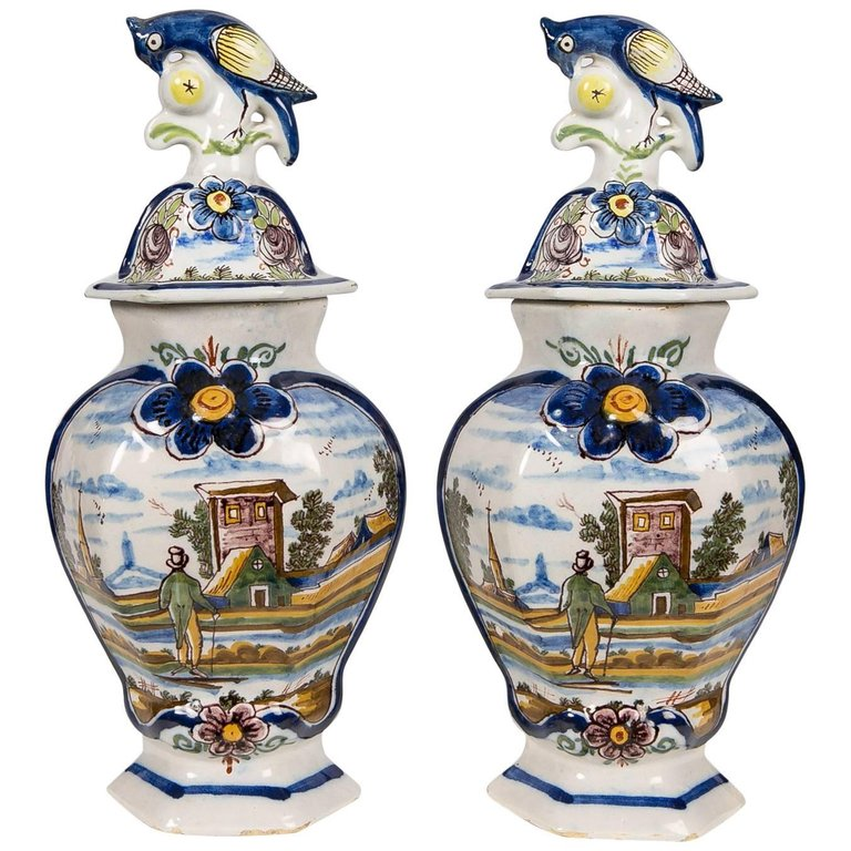 Antique Delft Vases In Polychrome Colors Dutch Delft For Sale At